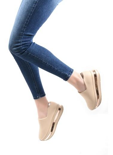 Sapin Dolgu Tabanlı Sneaker Ayakkabı Bej